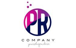PR P R Circle Letter Logo Design with Purple Dots Bubbles Royalty Free Stock Photo