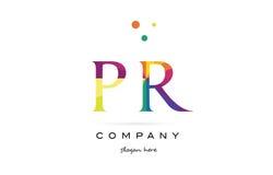 pr p r  creative rainbow colors alphabet letter logo icon Stock Images