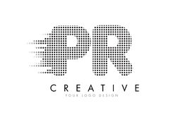 PR P R Letter Logo with Black Dots and Trails. Royalty Free Stock Image