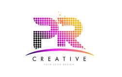 PR P R Letter Logo Design with Magenta Dots and Swoosh Stock Image