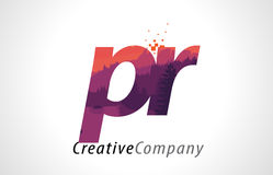 PR P R Letter Logo Design with Purple Forest Texture Flat Vector Stock Images