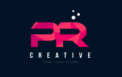 PR P R Letter Logo with Purple Low Poly Pink Triangles Concept Royalty Free Stock Photography