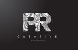 PR P R Letter Logo with Zebra Lines Texture Design Vector. Stock Photos