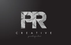 PR P R listu logo z zebr linii tekstury projekta wektorem Zdjęcia Stock