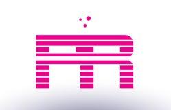 pr p r pink purple line stripe alphabet letter logo vector templ Royalty Free Stock Image