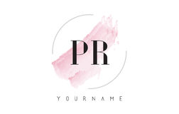 PR P R Watercolor Letter Logo Design with Circular Brush Pattern Royalty Free Stock Images