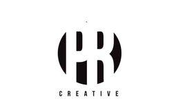 PR P R White Letter Logo Design with Circle Background. Stock Photos