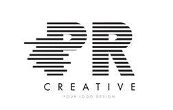PR P R Zebra Letter Logo Design with Black and White Stripes Stock Photos