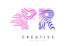 PR P R Zebra Lines Letter Logo Design with Magenta Colors Stock Photography