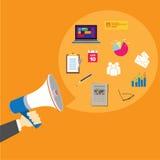 Pr public relations with megaphone Stock Image