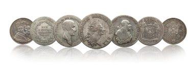 Pr?ssia alem?o do thaler das moedas de prata de Alemanha isolada no fundo branco imagens de stock