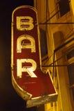 Prętowa Neonowego znaka nocy fotografia Obrazy Royalty Free