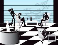 prętowe kawowe ilustracyjne holu restauraci kobiety ilustracji