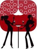 Prętowego restauracyjnego holu kawowa kobiet Ilustracja ve Zdjęcie Royalty Free