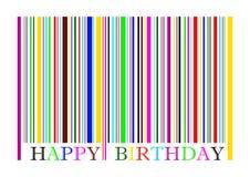 Prętowy kod z kolorami i teksta wszystkiego najlepszego z okazji urodzin Obraz Stock