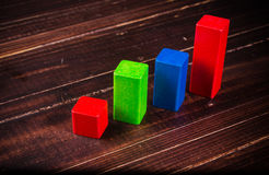 prętowy wykres na drewnianej desce Zdjęcie Stock