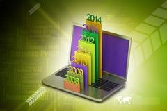 Prętowy wykres pokazuje równomiernego wzrost z rok w laptopie Fotografia Stock
