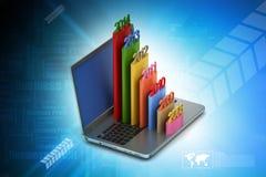Prętowy wykres pokazuje równomiernego wzrost z rok w laptopie Obrazy Royalty Free