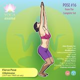 PR_16 YOGA Fierce Pose. Illustration of Yoga Exercises with full text description, names and symbols of the involved chakras. Female figure showing the position Royalty Free Stock Photos