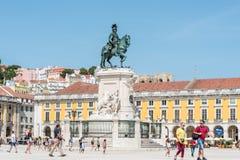 Praça делает Comercio в центре Лиссабона, Португалии Стоковые Изображения RF