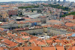 Praça da Figueira aerial view, Lisbon Stock Photos