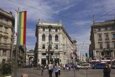 Praça Cordusio em Milão fotos de stock royalty free