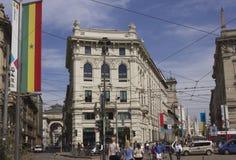 Praça Cordusio em Milão imagens de stock