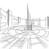 Praça da cidade arquitetónica linear do esboço Imagem de Stock Royalty Free