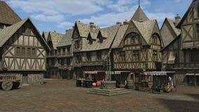 Praça da cidade medieval ilustração royalty free