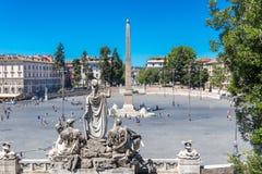 A praça del Popolo e Flaminio Obelisk fotografia de stock