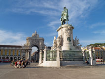 Praça do Comércio Commerce Square. Lisbon, Portugal October 6, 2008 Statue of King Dom Jose 1 in Commerce Square with the arch of Rua Augusta in the royalty free stock images