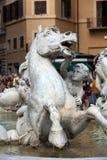 Praça Navona, fonte de Netuno em Roma Fotografia de Stock Royalty Free