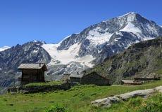 Pra Gra. Huts of Pra Gra Remointse in the mountains near Arolla, Switzerland royalty free stock photo