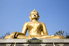 Pra Mongkol Ming Mueang. Amnat Charoen Thailand, the Buddha cover by the golden mosaic, Statue of Buddha stock photo