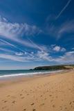 Praa铺沙海滩,康沃尔郡,英国 库存照片