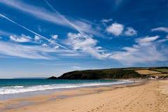 Praa铺沙海滩,康沃尔郡,英国 免版税库存照片