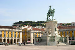 Praa do Comercio. São Jorge, on Praa do Comercio in Lisbon with the castle in the back Royalty Free Stock Photography