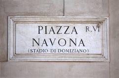 A praça Navona assina dentro Roma, Itália Imagem de Stock