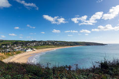 Praa Sands beach Cornwall England view east towards Mullion Royalty Free Stock Photos