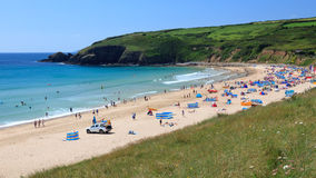 Praa Sands Beach Cornwall. Summers Day Ovelooking Praa Sands Beach Cornwall England UK Royalty Free Stock Photo