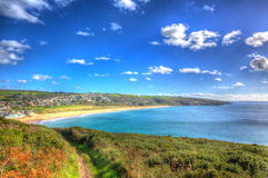 Praa Sands Cornwall England near Penzance and Mullion in colourful HDR Stock Image