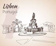 Praaa do Comercio square. Lisbon. Portugal. Praaa do Comercio square Lisbon. Portugal. Hand drawn sketch.  on white background Royalty Free Stock Images