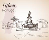 Praaa gör den Comercio fyrkanten lisbon portugal royaltyfri illustrationer