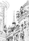 Praag - architecturale tekening Royalty-vrije Stock Afbeelding