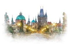 Praag - beroemd oriëntatiepunt Charles Bridge, waterverfkunstwerk royalty-vrije stock afbeeldingen