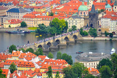 Praag Charles Bridge, Tsjechische Republiek Stock Foto's