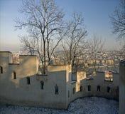 Praag - de Muur van de Honger bij Heuvel Petrin stock foto