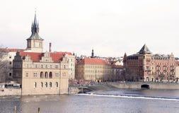 Praag. De rivier van Vltava Stock Afbeelding