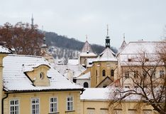 Praag in de winter stock foto's