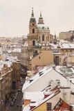 Praag in de wintertijd Stock Afbeeldingen